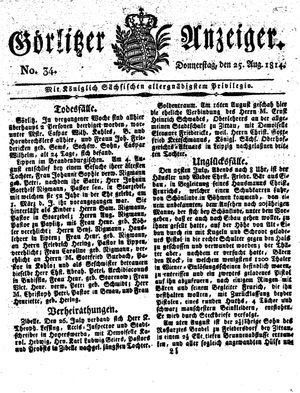 Görlitzer Anzeiger vom 25.08.1814
