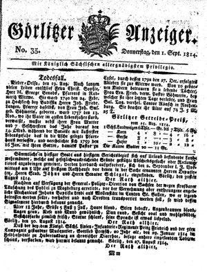Görlitzer Anzeiger vom 01.09.1814