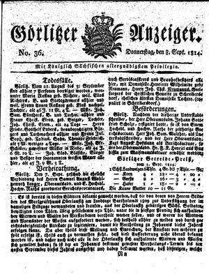 Görlitzer Anzeiger vom 08.09.1814
