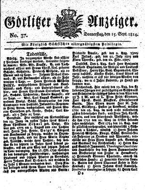 Görlitzer Anzeiger vom 15.09.1814