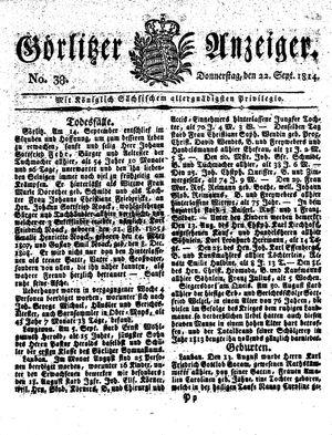 Görlitzer Anzeiger vom 22.09.1814