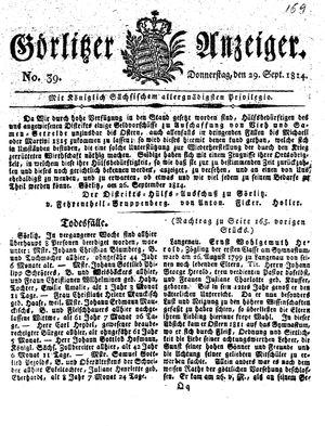 Görlitzer Anzeiger vom 29.09.1814