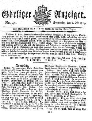 Görlitzer Anzeiger vom 06.10.1814
