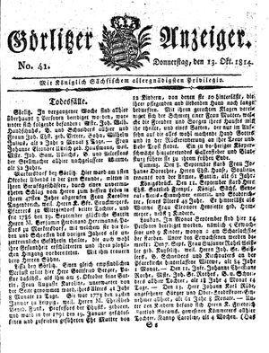 Görlitzer Anzeiger vom 13.10.1814