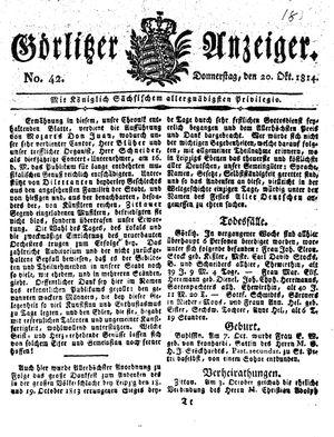 Görlitzer Anzeiger vom 20.10.1814