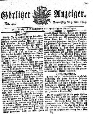 Görlitzer Anzeiger vom 03.11.1814