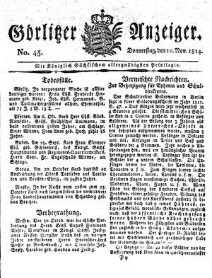 Görlitzer Anzeiger vom 10.11.1814
