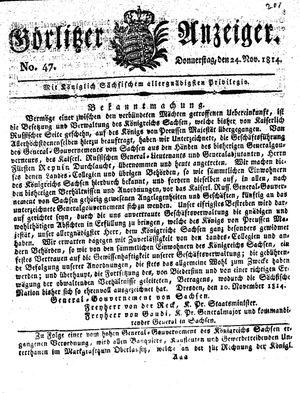 Görlitzer Anzeiger vom 24.11.1814