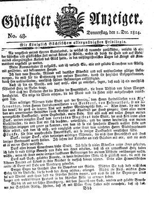 Görlitzer Anzeiger vom 01.12.1814
