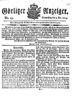 Görlitzer Anzeiger vom 08.12.1814