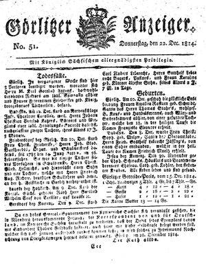 Görlitzer Anzeiger vom 22.12.1814