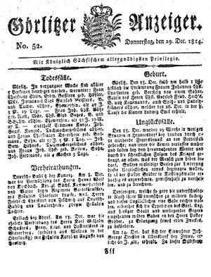 Görlitzer Anzeiger vom 29.12.1814