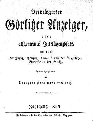 Görlitzer Anzeiger vom 01.01.1815