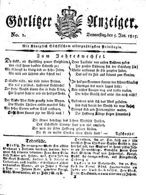 Görlitzer Anzeiger vom 05.01.1815