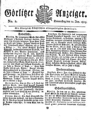 Görlitzer Anzeiger vom 12.01.1815