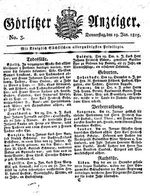 Görlitzer Anzeiger on Jan 19, 1815