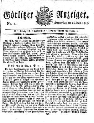 Görlitzer Anzeiger vom 26.01.1815