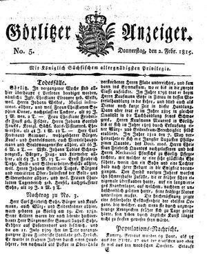 Görlitzer Anzeiger on Feb 2, 1815