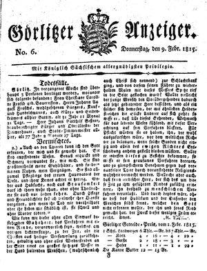 Görlitzer Anzeiger vom 09.02.1815