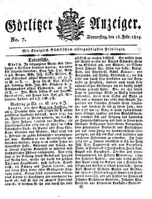 Görlitzer Anzeiger vom 16.02.1815