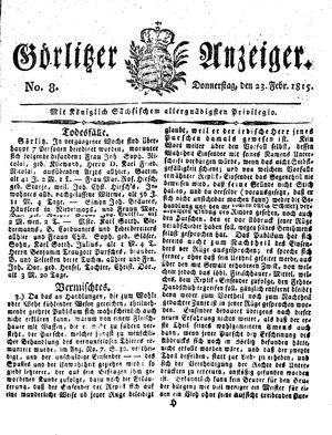 Görlitzer Anzeiger vom 23.02.1815