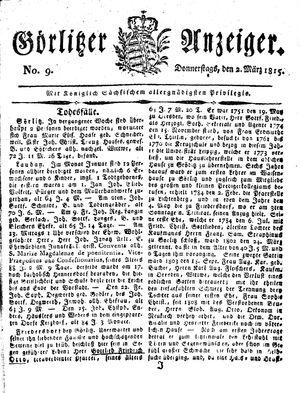 Görlitzer Anzeiger vom 02.03.1815