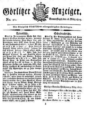 Görlitzer Anzeiger vom 16.03.1815