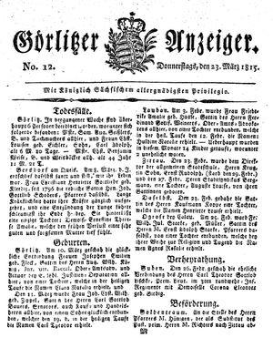 Görlitzer Anzeiger vom 23.03.1815