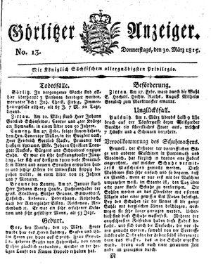 Görlitzer Anzeiger vom 30.03.1815