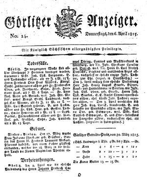 Görlitzer Anzeiger on Apr 6, 1815