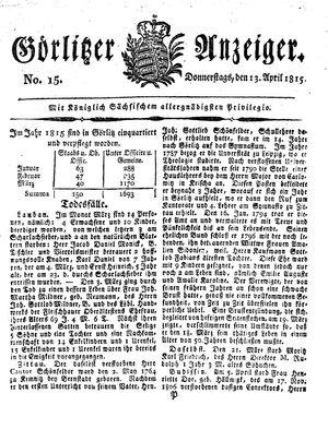 Görlitzer Anzeiger vom 13.04.1815