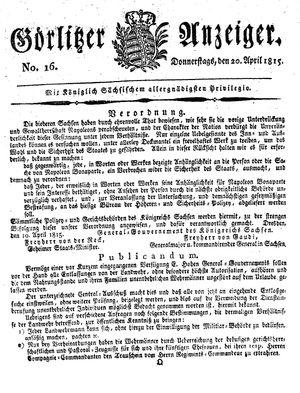 Görlitzer Anzeiger vom 20.04.1815