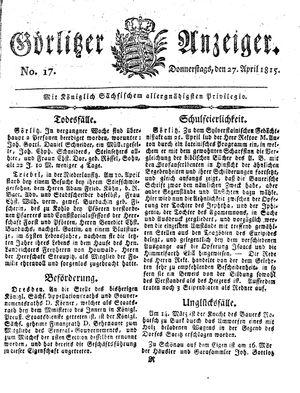 Görlitzer Anzeiger vom 27.04.1815