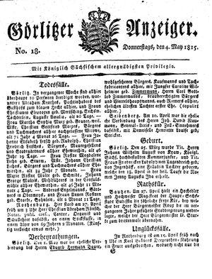 Görlitzer Anzeiger vom 04.05.1815