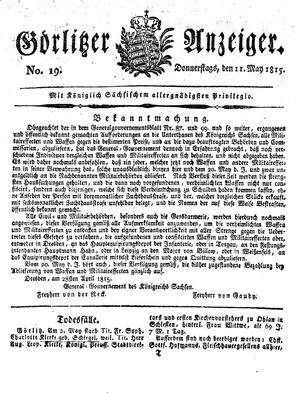 Görlitzer Anzeiger vom 11.05.1815