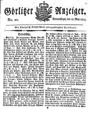 Görlitzer Anzeiger vom 18.05.1815