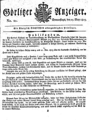 Görlitzer Anzeiger vom 25.05.1815