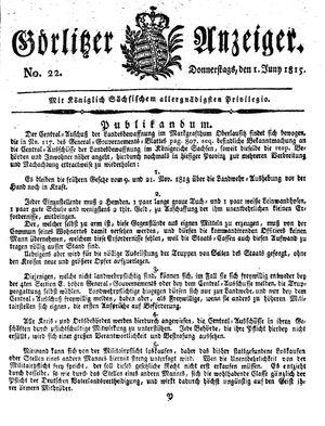Görlitzer Anzeiger vom 01.06.1815