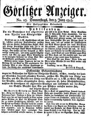 Görlitzer Anzeiger vom 08.06.1815