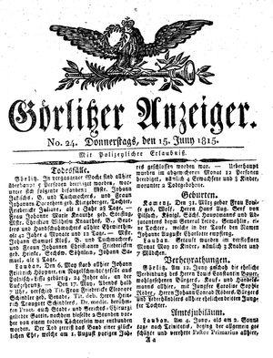 Görlitzer Anzeiger vom 15.06.1815
