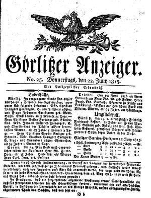 Görlitzer Anzeiger vom 22.06.1815