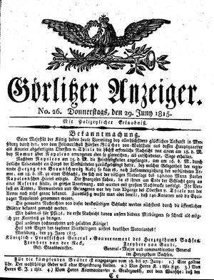 Görlitzer Anzeiger vom 29.06.1815