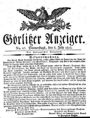Görlitzer Anzeiger vom 06.07.1815