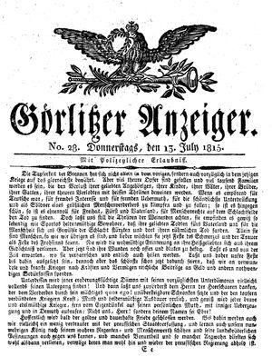 Görlitzer Anzeiger on Jul 13, 1815