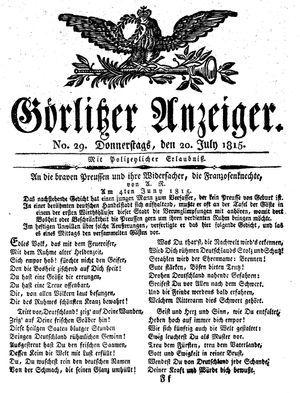 Görlitzer Anzeiger vom 20.07.1815