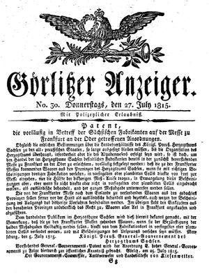 Görlitzer Anzeiger vom 27.07.1815