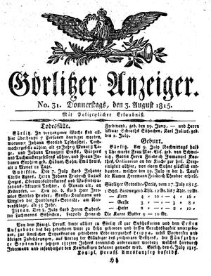 Görlitzer Anzeiger vom 03.08.1815