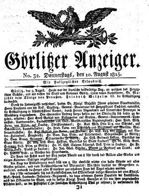 Görlitzer Anzeiger vom 10.08.1815