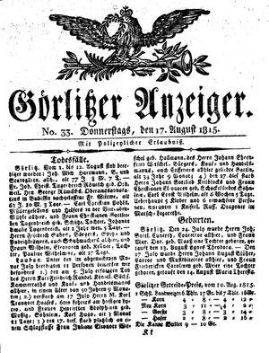 Görlitzer Anzeiger on Aug 17, 1815