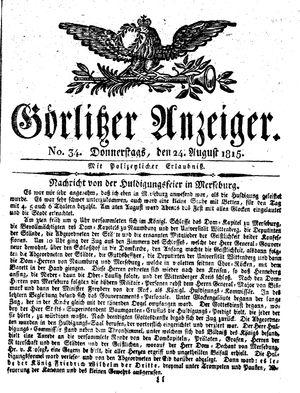 Görlitzer Anzeiger vom 24.08.1815